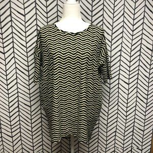Lularoe Black and Yellow Zig Zag Irma Top